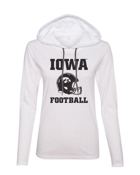 Women's Iowa Hawkeyes Long Sleeve Hooded Tee Shirt - Iowa Football Helmet on White
