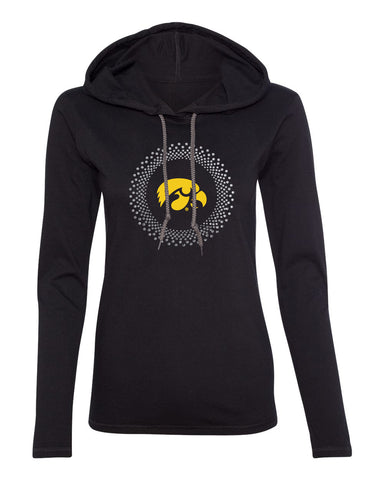 Women's Iowa Hawkeyes Long Sleeve Hooded Tee Shirt - Circle Burst Rhinestones with Tigerhawk