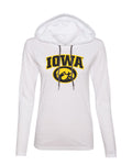 Women's Iowa Hawkeyes Long Sleeve Hooded Tee Shirt - IOWA Oval Tigerhawk on White