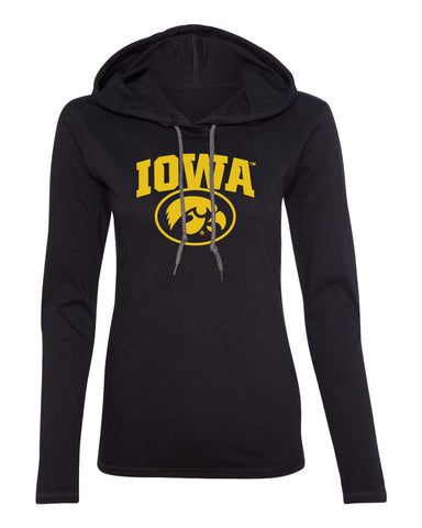 Women's Iowa Hawkeyes Long Sleeve Hooded Tee Shirt - IOWA Oval Tigerhawk on Black
