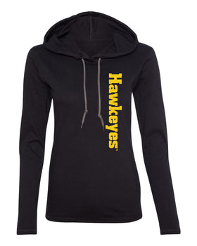 Women's Iowa Hawkeyes Long Sleeve Hooded Tee Shirt - Vertical Offset Hawkeyes