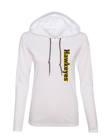Women's Iowa Hawkeyes Long Sleeve Hooded Tee Shirt - Vertical Offset Hawkeyes on White
