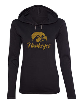 Women's Iowa Hawkeyes Long Sleeve Hooded Tee Shirt - Tigerhawk and Script Hawkeyes in Gold Glitter