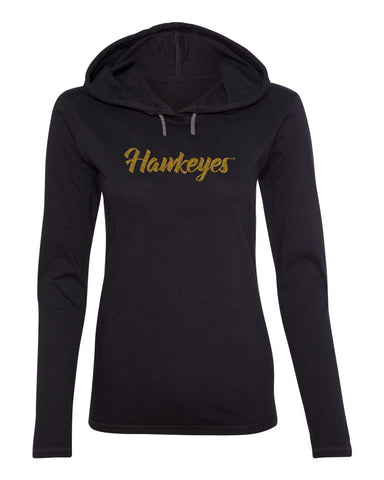 Women's Iowa Hawkeyes Long Sleeve Hooded Tee Shirt - Script Hawkeyes in Gold Glitter
