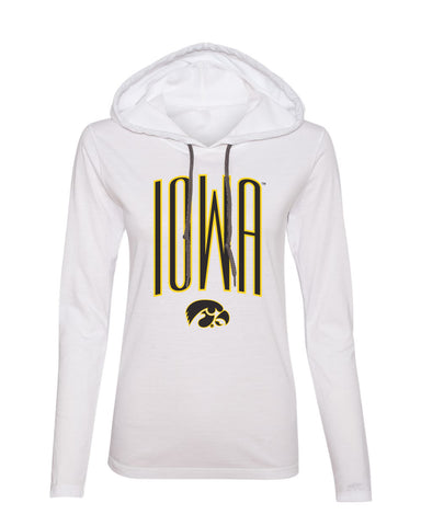 Women's Iowa Hawkeyes Long Sleeve Hooded Tee Shirt - Iowa Arch with Tigerhawk