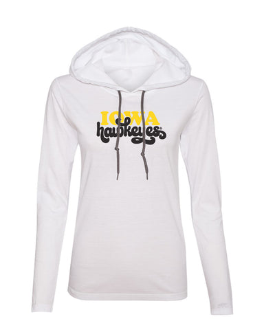 Women's Iowa Hawkeyes Long Sleeve Hooded Tee Shirt - Retro Iowa Script Hawkeyes