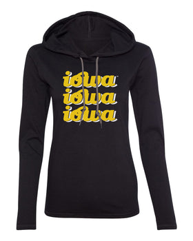 Women's Iowa Hawkeyes Long Sleeve Hooded Tee Shirt - iowa x 3