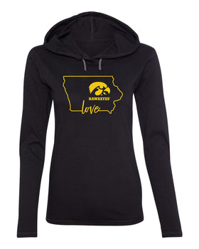 Women's Iowa Hawkeyes Long Sleeve Hooded Tee Shirt - Hawkeyes Love State Outline