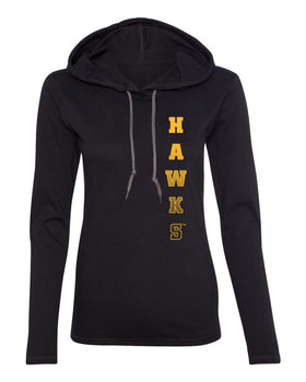 Women's Iowa Hawkeyes Long Sleeve Hooded Tee Shirt - Vertical Hawks Fade