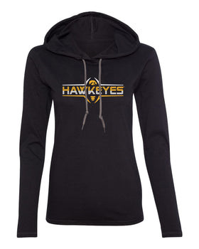Women's Iowa Hawkeyes Long Sleeve Hooded Tee Shirt - Striped HAWKEYES Football Laces
