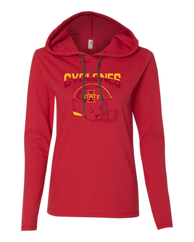 Women's Iowa State Cyclones Long Sleeve Hooded Tee Shirt - ISU Cyclones Football Helmet