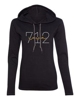 Women's Iowa Hawkeyes Long Sleeve Hooded Tee Shirt - 712 Area Code