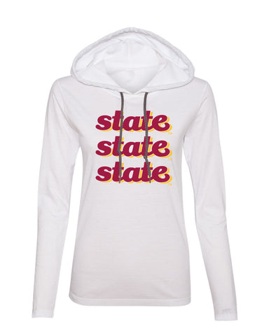 Women's Iowa State Cyclones Long Sleeve Hooded Tee Shirt - State x 3