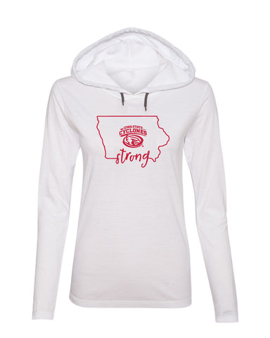 Women's Iowa State Cyclones Long Sleeve Hooded Tee Shirt - Cyclones Strong State Outline