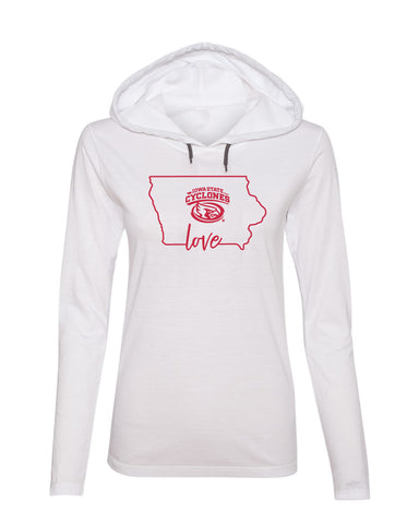 Women's Iowa State Cyclones Long Sleeve Hooded Tee Shirt - Cyclones Love State Outline