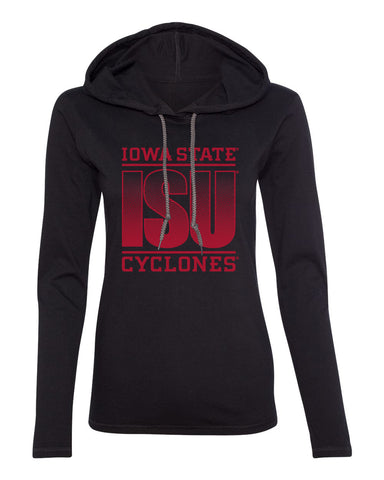 Women's Iowa State Cyclones Long Sleeve Hooded Tee Shirt - ISU Fade Red on Black