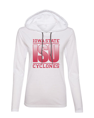 Women's Iowa State Cyclones Long Sleeve Hooded Tee Shirt - ISU Fade Red on White