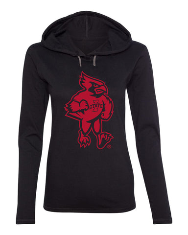Women's Iowa State Cyclones Long Sleeve Hooded Tee Shirt - Mascot Cy Full Body