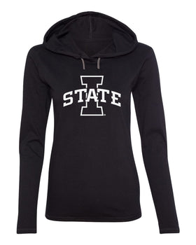 Women's Iowa State Cyclones Long Sleeve Hooded Tee Shirt - I-State Primary Logo Blackout