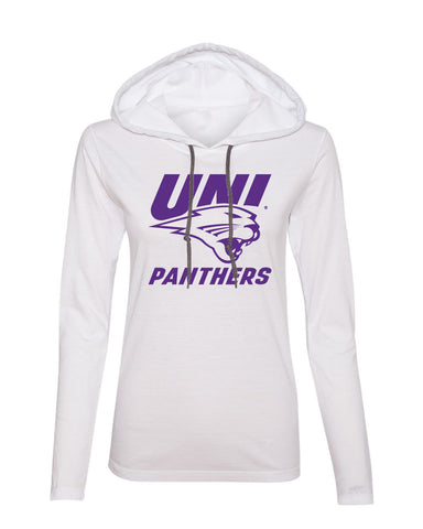 Women's Northern Iowa Panthers Long Sleeve Hooded Tee Shirt - Purple UNI Panthers Logo on White