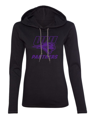 Women's Northern Iowa Panthers Long Sleeve Hooded Tee Shirt - Purple UNI Panthers Logo on Black