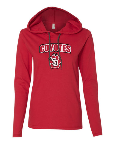 Women's South Dakota Coyotes Long Sleeve Hooded Tee Shirt - Coyotes with USD Paw Logo