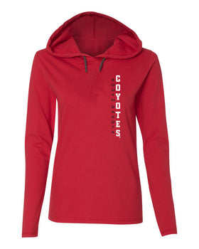 Women's South Dakota Coyotes Long Sleeve Hooded Tee Shirt - Vertical USD Coyotes