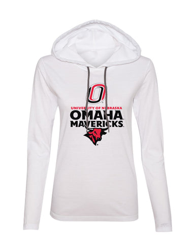 Women's Omaha Mavericks Long Sleeve Hooded Tee Shirt - Omaha Mavericks with Bull and Primary Logo on White