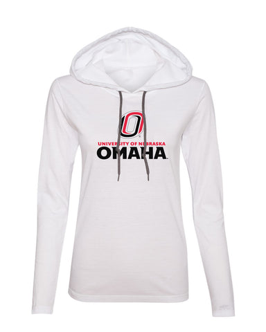 Women's Omaha Mavericks Long Sleeve Hooded Tee Shirt - University of Nebraska Omaha with Primary Logo on White