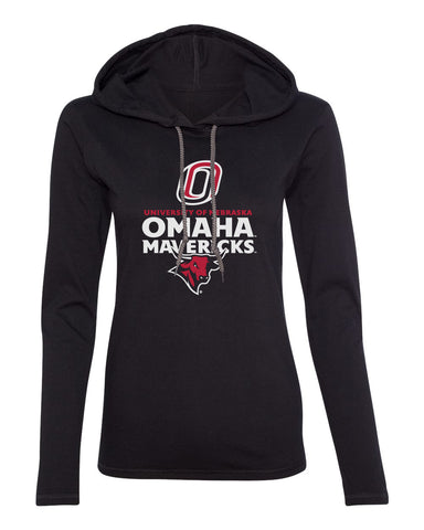 Women's Omaha Mavericks Long Sleeve Hooded Tee Shirt - Omaha Mavericks with Bull and Primary Logo on Black