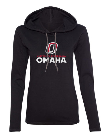 Women's Omaha Mavericks Long Sleeve Hooded Tee Shirt - University of Nebraska Omaha with Primary Logo on Black