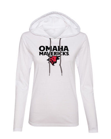 Women's Omaha Mavericks Long Sleeve Hooded Tee Shirt - Omaha Mavericks with Bull on White