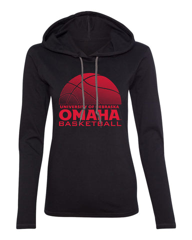 Women's Omaha Mavericks Long Sleeve Hooded Tee Shirt - UNO Basketball