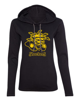 Women's Wichita State Shockers Long Sleeve Hooded Tee Shirt - WuShock Logo