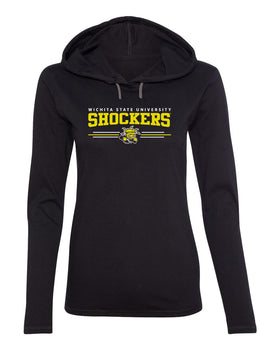 Women's Wichita State Shockers Long Sleeve Hooded Tee Shirt - Wichita State Shockers 3 Stripe