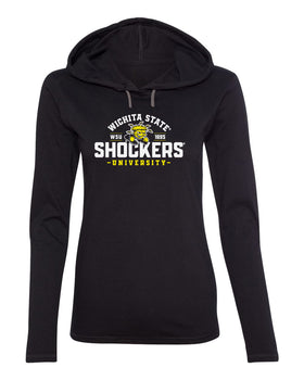 Women's Wichita State Shockers Long Sleeve Hooded Tee Shirt - Arc Wichita State Shockers