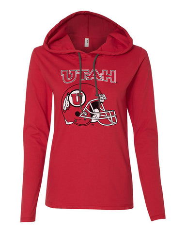Women's Utah Utes Long Sleeve Hooded Tee Shirt - Utah Utes Football Helmet