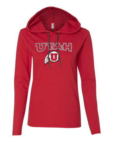 Women's Utah Utes Long Sleeve Hooded Tee Shirt - Circle & Feather Logo