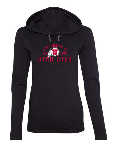 Women's Utah Utes Long Sleeve Hooded Tee Shirt - U of U Arch with Circle Feather Logo