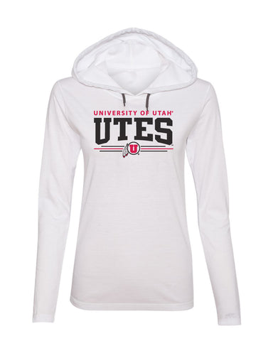 Women's Utah Utes Long Sleeve Hooded Tee Shirt - Arch UTES 3 Stripe Logo