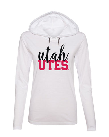 Women's Utah Utes Long Sleeve Hooded Tee Shirt - Script Utah Block UTES