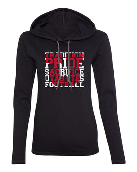 Women's Utah Utes Long Sleeve Hooded Tee Shirt - Utah Utes Football Tradition