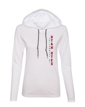 Women's Utah Utes Long Sleeve Hooded Tee Shirt - Vertical Utah Utes