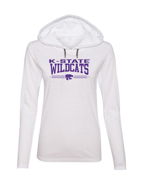 Women's K-State Wildcats Long Sleeve Hooded Tee Shirt - K-State Wildcats 3 Stripe Powercat