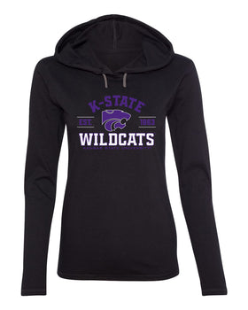 Women's K-State Wildcats Long Sleeve Hooded Tee Shirt - Arch K-State Wildcats EST 1863