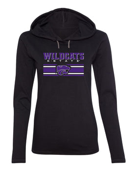 Women's K-State Wildcats Long Sleeve Hooded Tee Shirt - Wildcats Stripe Powercat