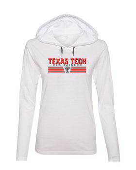Women's Texas Tech Red Raiders Long Sleeve Hooded Tee Shirt - Double T Horiz Stripe
