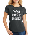 "Women's Nebraska ""Huskers LOVE RED"" Premium Tri-Blend Tee Shirt"