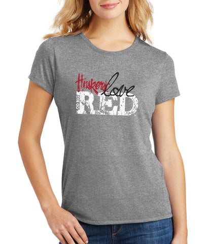 "Women's Nebraska Cornhuskers ""Go Big Huskers Love Red"" Premium Tri-Blend Tee Shirt"