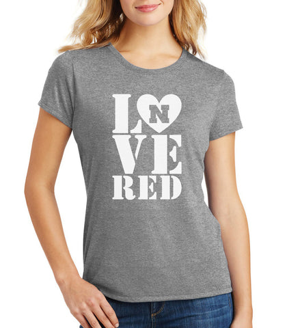 Women's Nebraska Cornhuskers Stacked LOVE N RED Premium Tri-Blend Tee Shirt